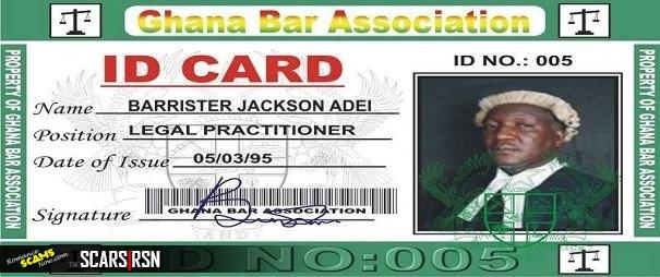 BARISTER JACKSON ADEI, CHIEF BARRISTER,  CAPE COAST GHANA - Ghana Money Scam