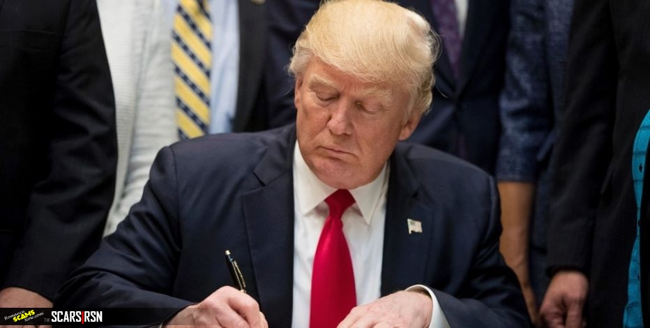 President Donal Trump Signing An Executive Order